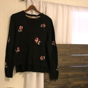 Black Knit Sweater with Maroon Floral Print